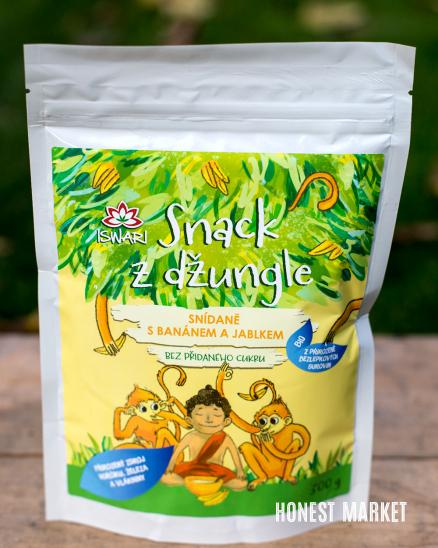 Dětská snídaňová kaše BIO - Snack z džungle jablko/ banán 300g