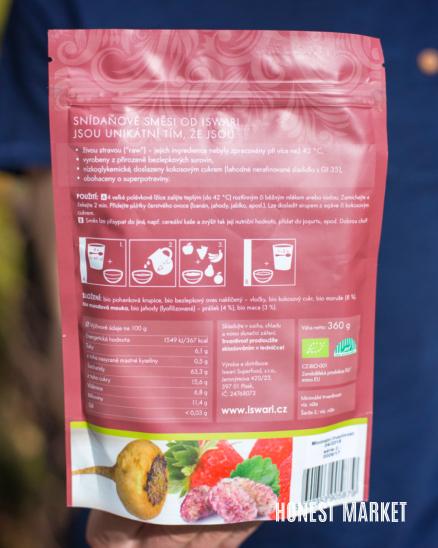 Snídaňová směs maca moruše jahody BIO 360g