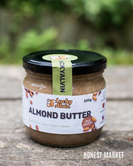 Mandlové máslo s mléčnou čokoládou Lucky Alvin 330g