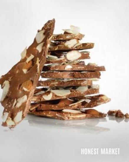 Lámaná mléčná 36% čokoláda  s kokosovými vločkami a mandlemi, BIO 120g
