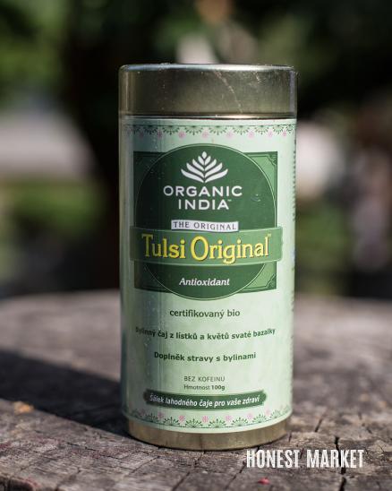 Čaj sypaný Tulsi original BIO v plechu 100g